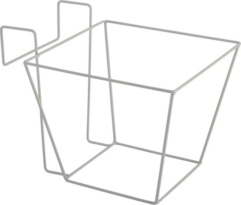 "<span class=""copyHeader"">basket case.</span> Industrial woven wire basket hangs our oscar babe rail planter window box-style from windows and railings.<br /><br /><NEWTAG/><ul><li>Powdercoated metal wire and metal hooks</li><li>Indoor/outdoor use</li><li>Clean with damp cloth</li></ul>"