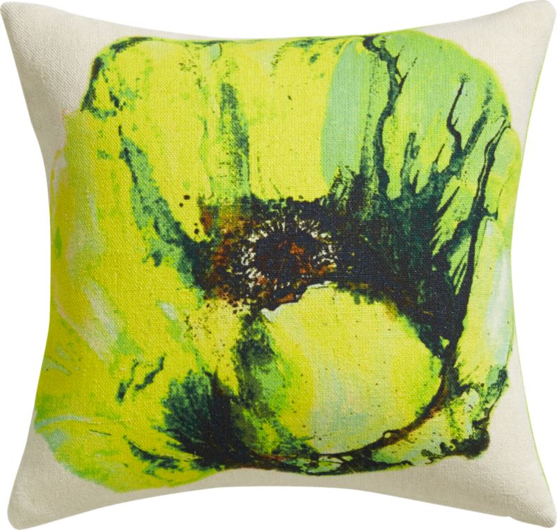 "painterly bloom 18"" pillow with feather-down insert"