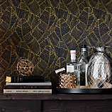 palm navy and gold self-adhesive wallpaper