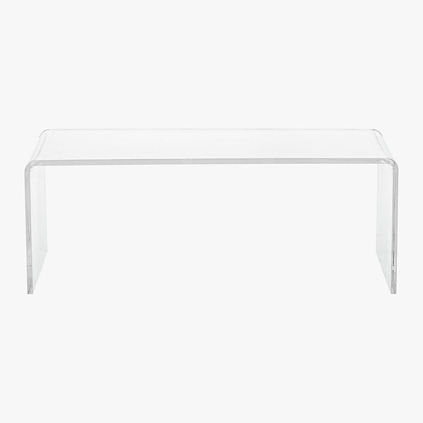 Peekaboo acrylic coffee table cb2 for Clear coffee table
