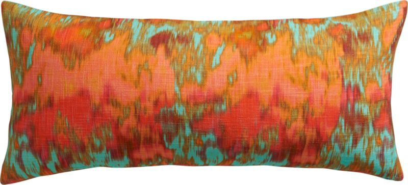 "pigments aqua 36""x16"" pillow with feather-down insert"