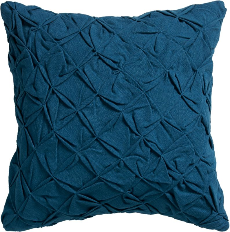 "pintuck blue-green 18"" pillow with feather-down insert"