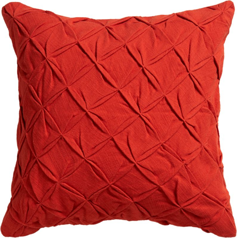 "pintuck red-orange 18"" pillow with feather-down insert"