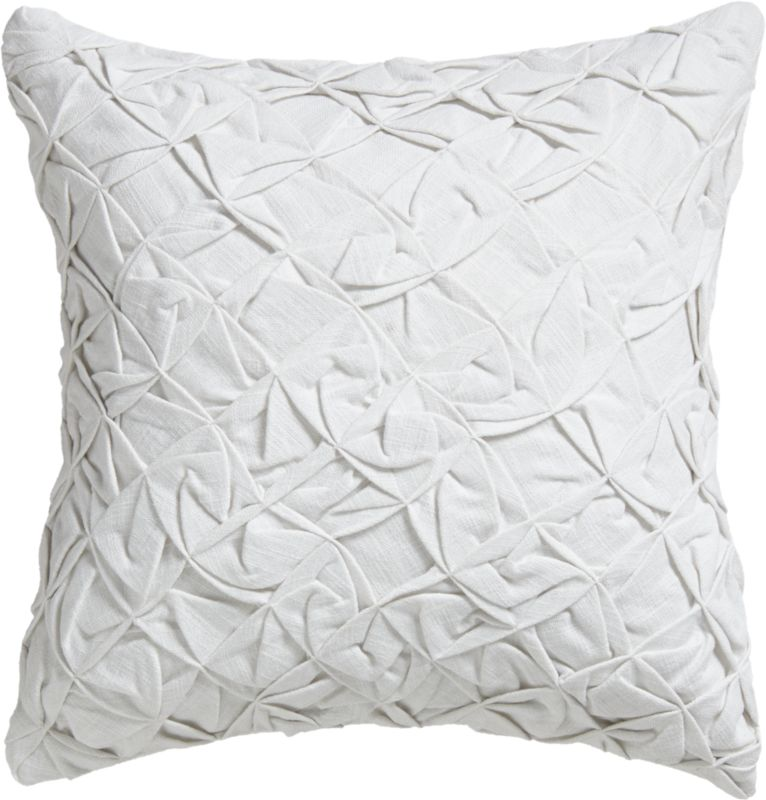 "pintuck white 18"" pillow with feather-down insert"