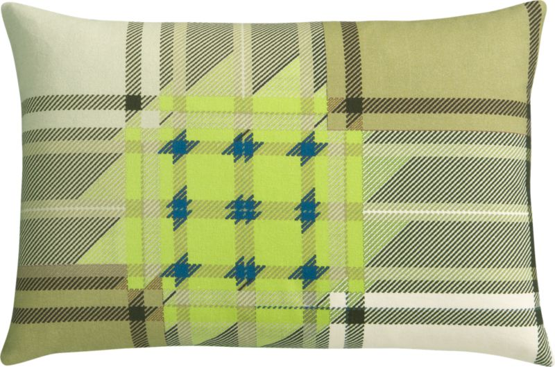 "plaid chartreuse 18""x12"" pillow"
