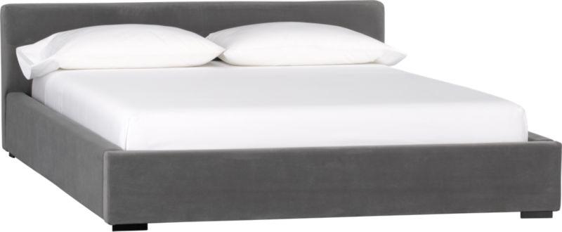 plush grey queen bed