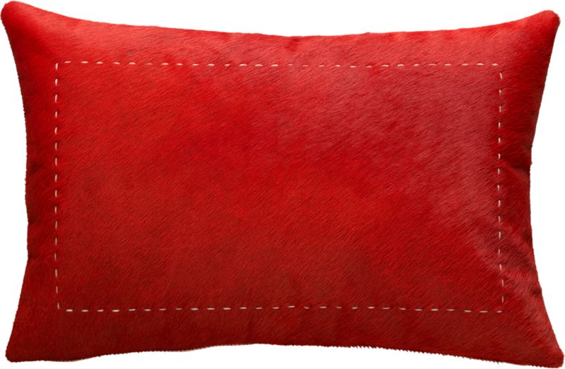 "pony up red 18""x12"" pillow with down-alternative insert"