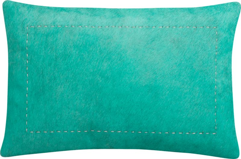 "pony up aqua 18""x12"" pillow with feather-down insert"