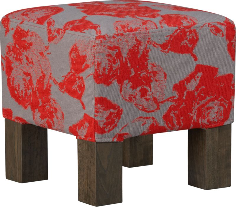 quad floral red stool