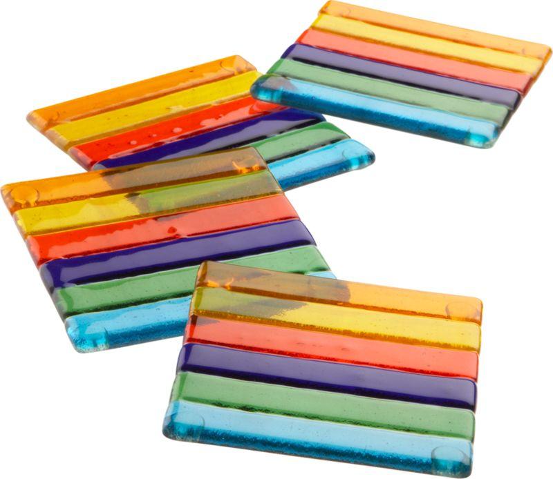 set of 4 rainbow glass coasters