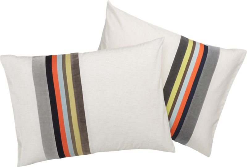 "<span class=""copyHeader"">band together.</span> Laid-back luxe falls in line with textured bands of rich, warm neutrals. Velvet bands of dark and light grey border cotton stripes of yellow, brown, mint, orange and navy. Vertical multicolor graphic punctuates natural field of 200-thread-count cotton/linen in off-center asymmetric sweep. Matching shams are finished neat with envelope closure. Reverse to solid natural.<br /><br /><NEWTAG/><ul><li>Cotton/linen blend in natural</li><li>200 thread count</li><li>Shams have envelope closure</li><li>Reverses to solid natural</li><li>Machine wash</li></ul>"