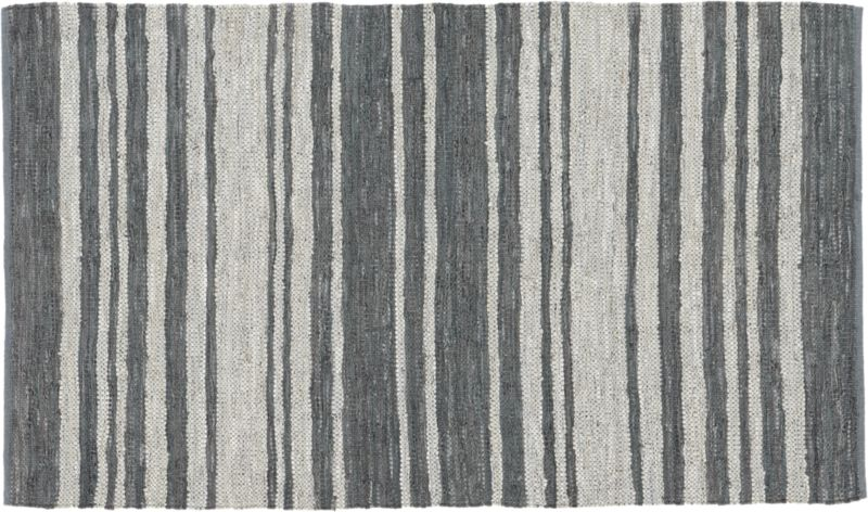 recycled leather stripe rug 5'x8'