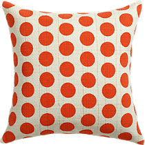 "red dots gold dash 20"" pillow"