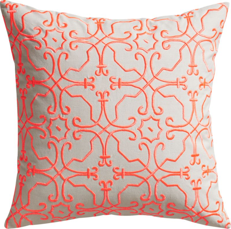 """revival embroidered 20"""" pillow with feather insert"""