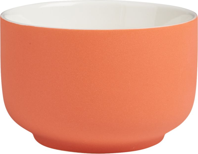 "<span class=""copyHeader"">candy coated.</span> Mini porcelain bowl glazed matte peachy salmon is a sweet spot for candy, nuts, small bites. Fun as a trio with roundish mini bowl pink and green.<br /><br /><NEWTAG/><ul><li>Porcelain</li><li>Matte salmon glaze</li><li>Dishwasher- and microwave-safe</li></ul>"