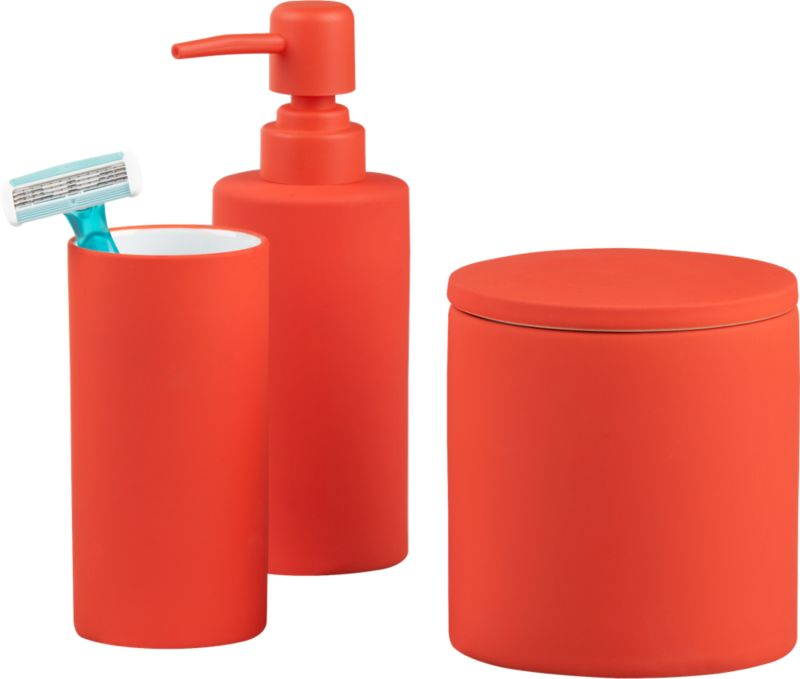 rubber coated orange bath accessories
