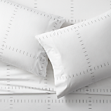 SAIC origin grid white queen sheet set