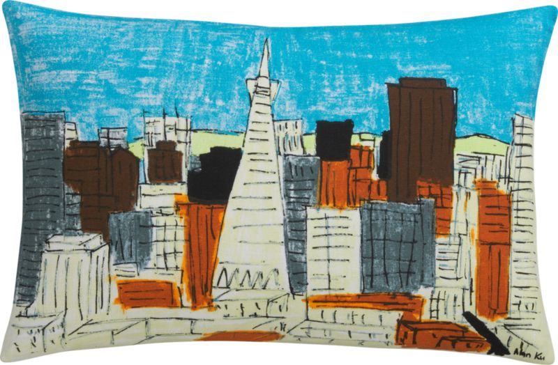 "san francisco downtown 18""x12"" pillow with down-alternative insert"