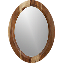 shesham oval mirror with white rim
