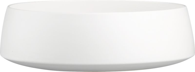 "<span class=""copyHeader"">the low down.</span> Simplicity and utility keep a low profile in matte white stoneware with slick white interior. Raised bottom edge and subtle tapered rim shelter salad, pasta and chips for an XL crowd.<br /><br /><NEWTAG/><ul><li>Stoneware</li><li>Matte white exterior; high-gloss white interior</li><li>Dishwasher-, microwave- and oven-safe (up to 350-degrees)</li></ul>"