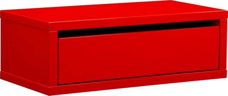 slice red wall mounted storage shelf