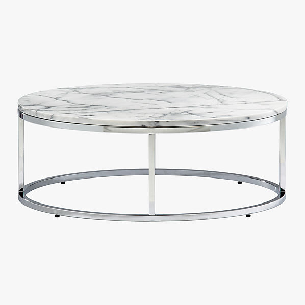 Smart round marble top coffee table cb2 Round marble coffee tables