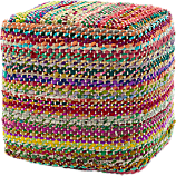 square recycled rag pouf