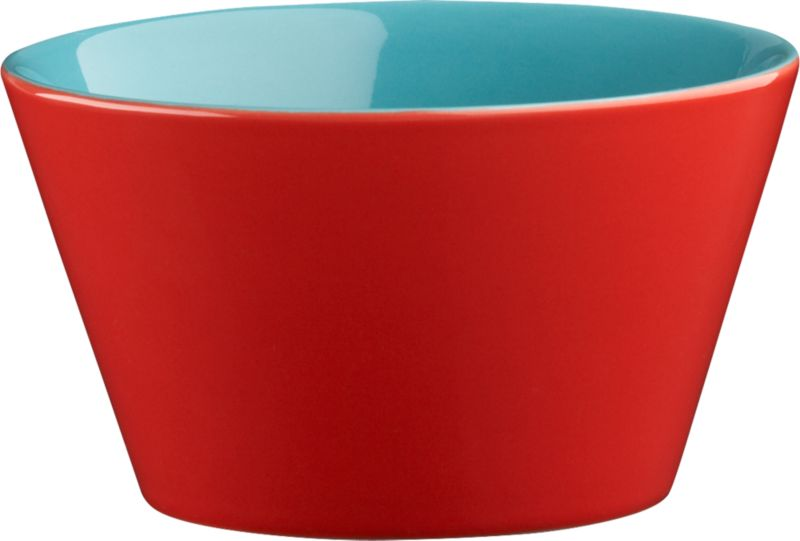 "<span class=""copyHeader"">bowled over.</span> Two-tone bowl is a colorful character, inside and out. Hi-gloss red exterior plays bold off aqua interior to pop everything from soup to nuts. Handmade dish with deep, angled sides stacks to store.<br /><br /><NEWTAG/><ul><li>Handmade</li><li>Glazed stoneware</li><li>Red exterior; aqua interior</li><li>Stackable</li><li>Dishwasher- and microwave-safe; oven-safe at 350-degrees up to two hours</li></ul>"