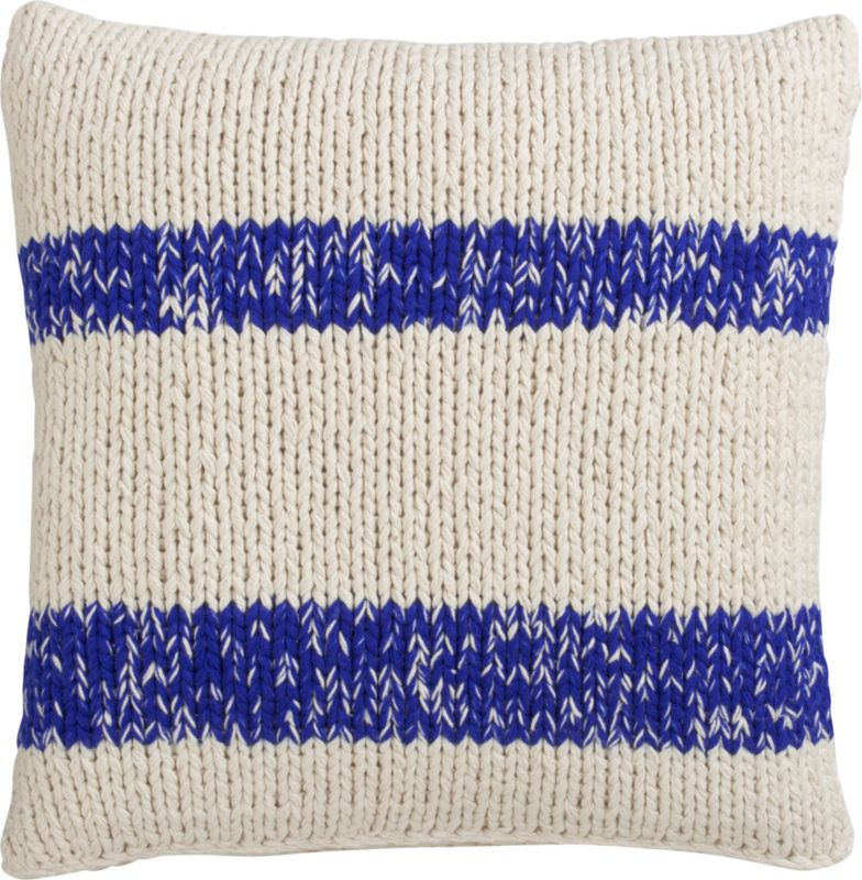 "stream knit blue 20"" pillow with feather-down insert"