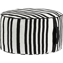 stripe woven black and white outdoor pouf