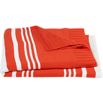 striped orange throw