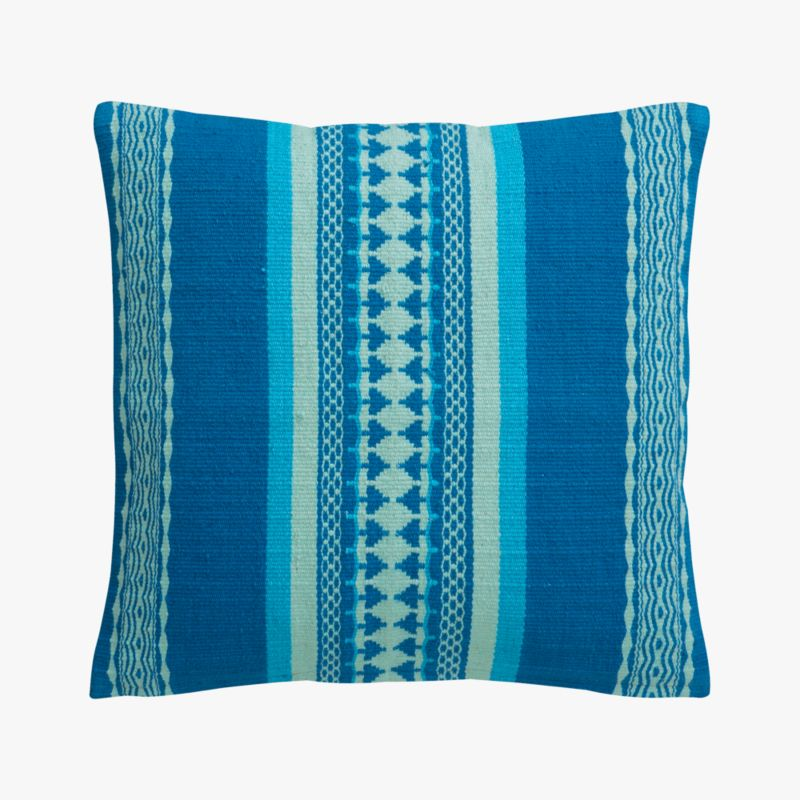 "saudades blue 16"" pillow with feather-down insert"
