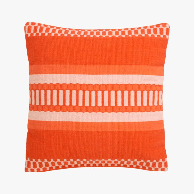 "saudades orange 18"" pillow with feather-down insert"