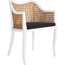 tayabas cane side chair with black cushion