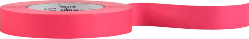 "<span class=""copyHeader"">wrap star.</span> Think outside the box. Neon pink tape pops gifts with DIY creativity. Printable surface also makes clever labels. Fun to spool in our cement tape dispenser. Sticks bold on our black gift wrap.<br /><br /><NEWTAG/><ul><li>Printable colored tape</li><li>60.1 yards</li></ul>"