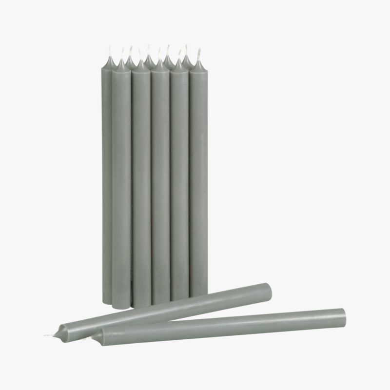 set of 12 grey taper candle