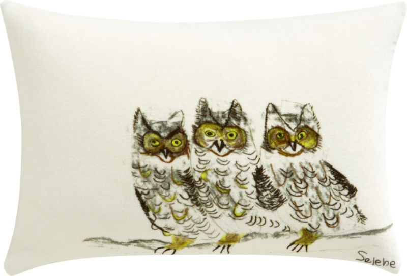 "three owls 18""x12"" pillow"