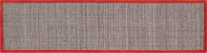 tweed dark brown linen with burnt orange border 2.5'x10' runner