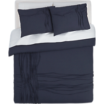 twisted navy bed linens