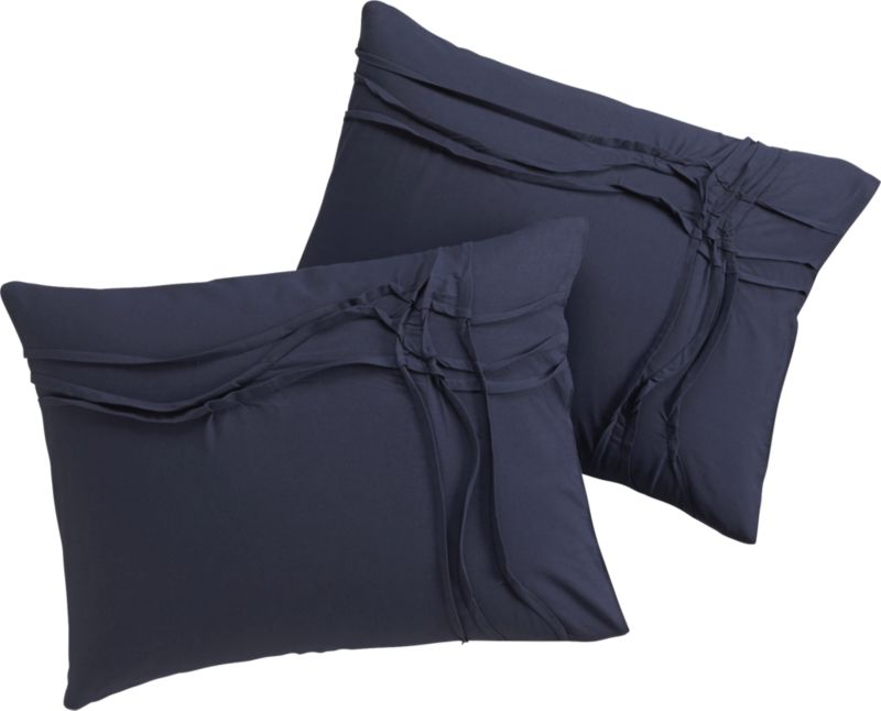 set of 2 twisted navy shams