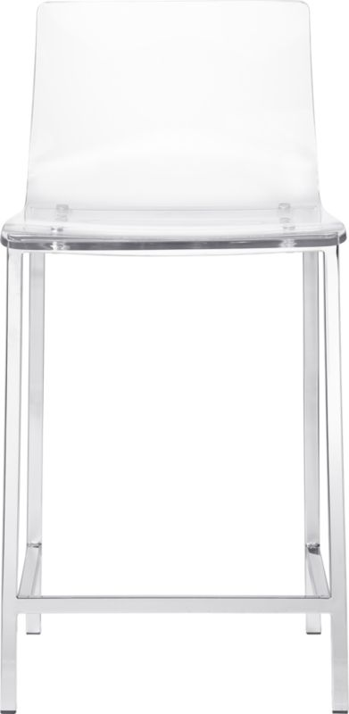 """<span class=""""copyHeader"""">poof.</span> Out of thin air. No fabric, no leather, just one clean swoop of clear, thick acrylic exposing architectural chrome plated square steel frame. Formfitting curves in all the right places. Clearly works with any room.<br /><br /><NEWTAG/><ul><li>Thick molded acrylic seat and back</li><li>Chrome-plated steel frame</li><li>24""""H seat sized for counters</li></ul>"""