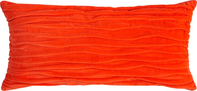 "velvet twist orange 23""x11"" pillow with down-alternative insert"