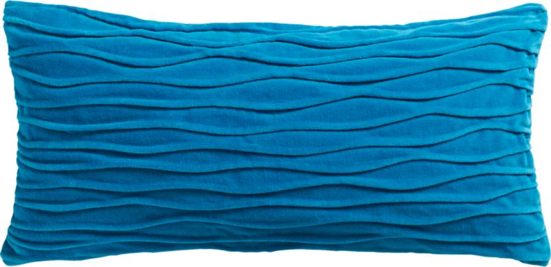 "velvet twist blue 23""x11"" pillow with down-alternative insert"