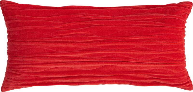 "velvet twist red 23""x11"" pillow with down-alternative insert"