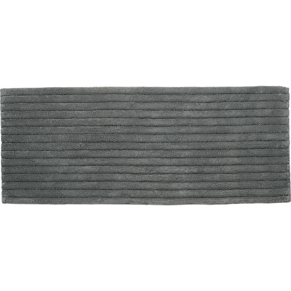 vertical stripe grey bath runner in rugs | CB2
