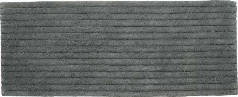Vertical Stripe Grey Bath Runner In Rugs | CB2
