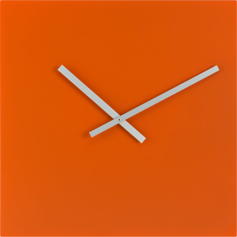 "square orange 20"" wall clock"