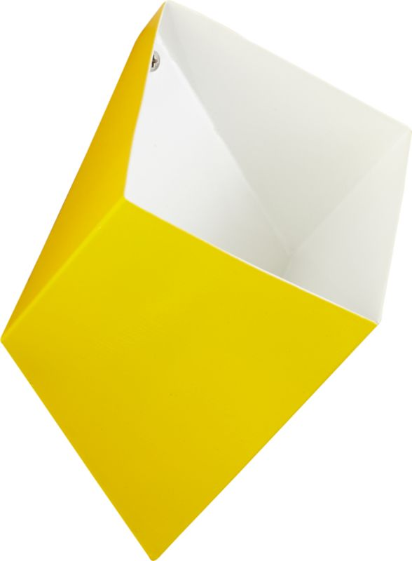 "<span class=""copyHeader"">neat angle.</span> Handcrafted in yellow/white powdercoated iron, geometric pocket pops 3D on the wall to contain doodads and smalls. Stash keys and mail in the entry, pens and pencils in the office, reading glasses and remotes in the living room. Mounts easy to the wall with included hardware. Cluster in multiples to graphic effect with wall pocket shadow.<br /><br /><NEWTAG/><ul><li>Handcrafted</li><li>Iron</li><li>Exterior: yellow powdercoat finish</li><li>Interior: white powdercoat finish</li><li>Wall mounts; holds small objects</li><li>Mounting hardware included</li><li>Wipe with soft, dry cloth</li></ul>"