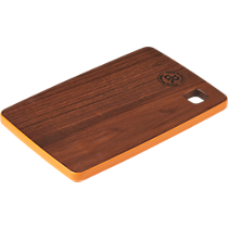 walnut cutting board with orange trim