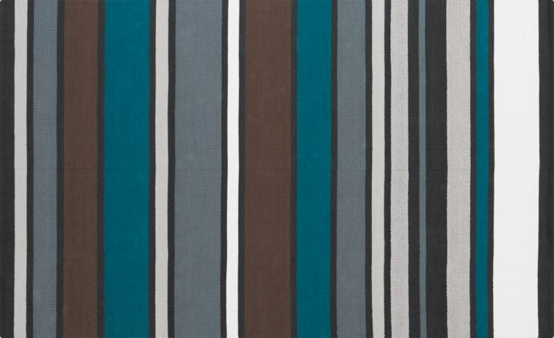 wide stripe cotton dhurrie rug 5'x8'